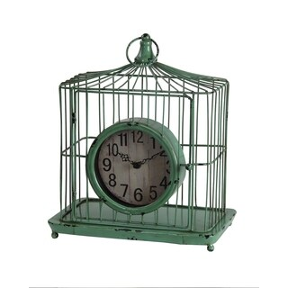 Privilege Green Iron Birdcage Design Table Clock