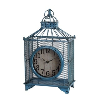 Privilege Blue Iron Birdcage Design Table Clock