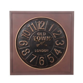 Privilege Old Square Metal and Wood Wall Clock