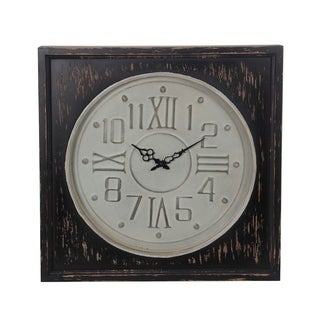 Privilege Large Contemporary Metal and Wood Wall Clock with White Face