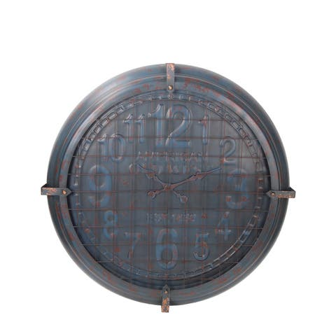 Privilege Large Blue and Patina Metal Wall Clock