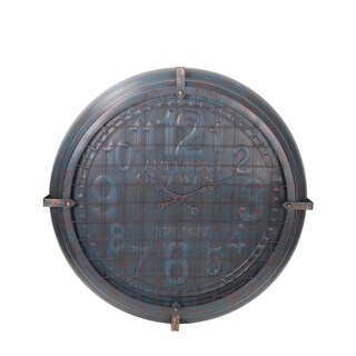 Privilege Large Blue and Patina Metal Wall Clock