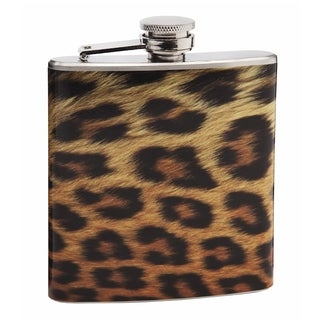 Top Shelf Realistic Leopard Pattern 6-ounce Hip Flask