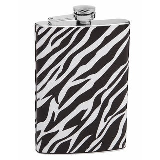 Top Shelf Authentic 8-ounce White and Black Zebra Print Flask