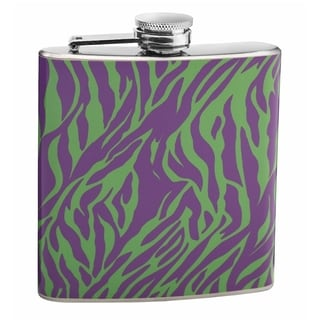 Top Purple and Green 6-ounce Zebra Print Hip Flask