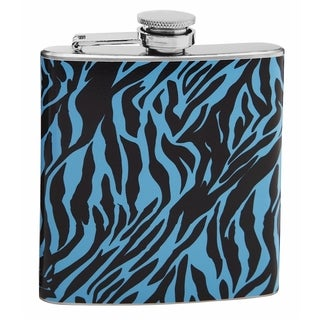 Top Shelf Blue and Black 6-ounce Zebra Pattern Hip Flask