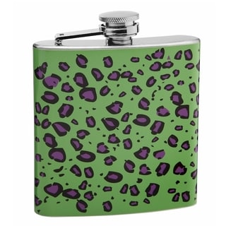 Top Shelf Green and Purple Leopard Print 6-ounce Hip Flask