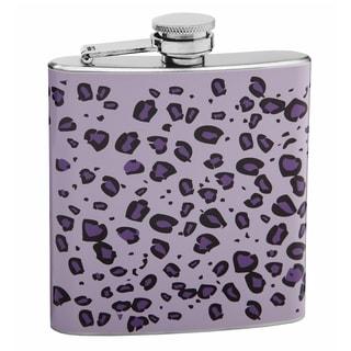 Top Shelf Purple on Purple 6-ounce Leopard Skin Print Hip Flask