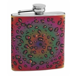 Top Shelf Psychedelic Leopard Print 6-ounce Hip Flask