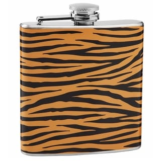 Top Shelf Tiger Print 6-ounce Stainless Steel Hip Flask