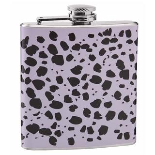 Top Shelf Light Purple and Black Cheetah Print 6-ounce Hip Flask