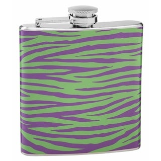 Top Shelf Green and Purple 6-ounce Tiger Print Flask