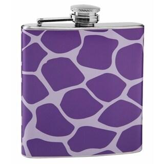 Top Shelf Light and Dark Purple Giraffe Print Hip Flask