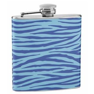 Top Shelf Light and Dark Blue Tiger Print 6-ounce Hip Flask