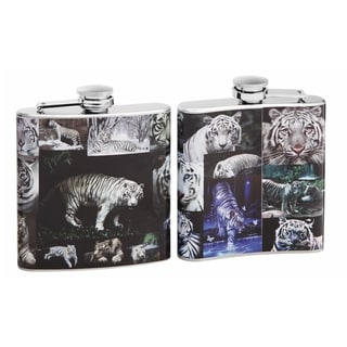Top Shelf Full Color White Tiger Collage on 6-ounce Flask