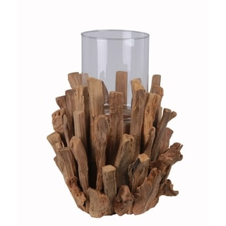 Privilege Brown Large Split Wood and Glass Candle Holder