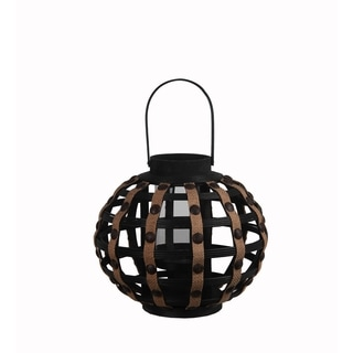 Privilege Black Small Round Wooden Weave Lantern