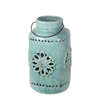 Privilege Turquoise Large Blue Ceramic Lantern