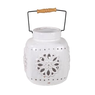 Privilege White Small Ceramic Lantern