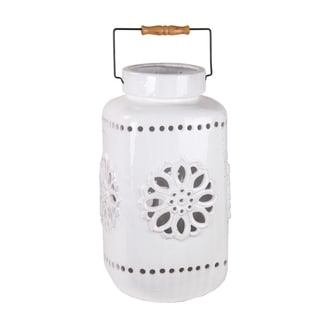 Privilege White Large Ceramic Lantern
