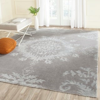 Safavieh Hand-knotted Stone Wash Grey Wool Rug (9' x 12')