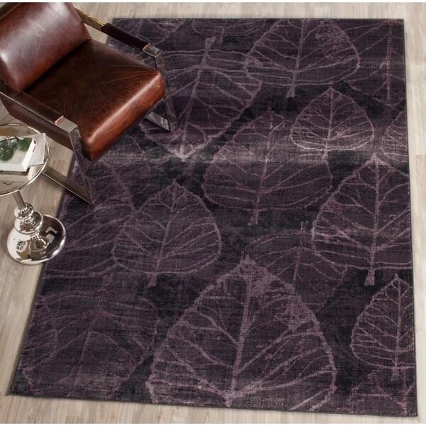 Safavieh Vintage Charcoal/ Multi Botanical Distressed Silky Viscose Rug - 6'7 x 9'2