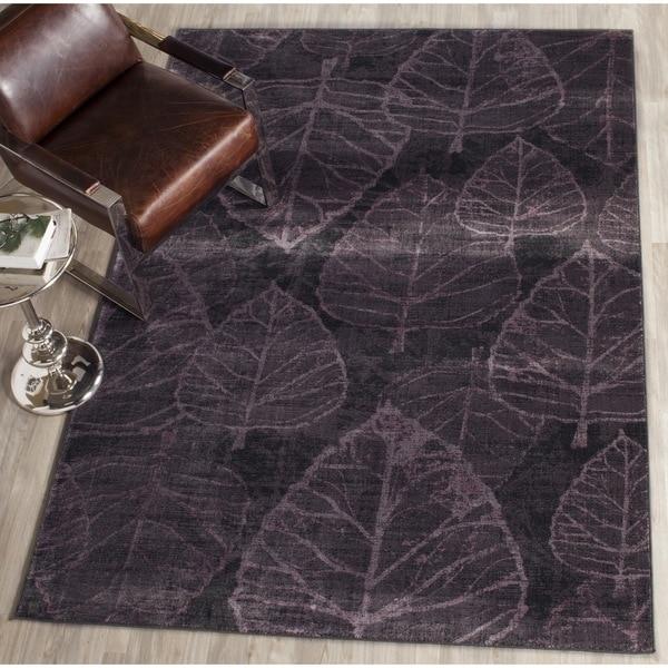 Safavieh Vintage Charcoal/ Multi Botanical Distressed Silky Viscose Rug (6'7 x 9'2)