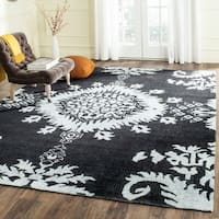 Safavieh Hand-knotted Stone Wash Charcoal Wool Rug - 9' x 12'