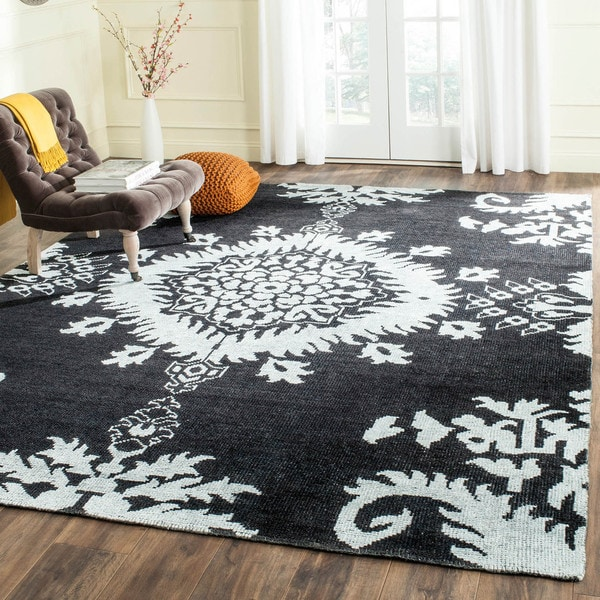 Safavieh Hand-knotted Stone Wash Charcoal Wool Rug (9' x 12')