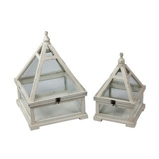 Privilege White 2-piece Wooden Lanterns
