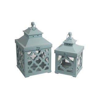Privilege Aqua 2-piece Wooden Lanterns