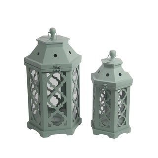 Privilege Green 2-piece Wooden Lanterns