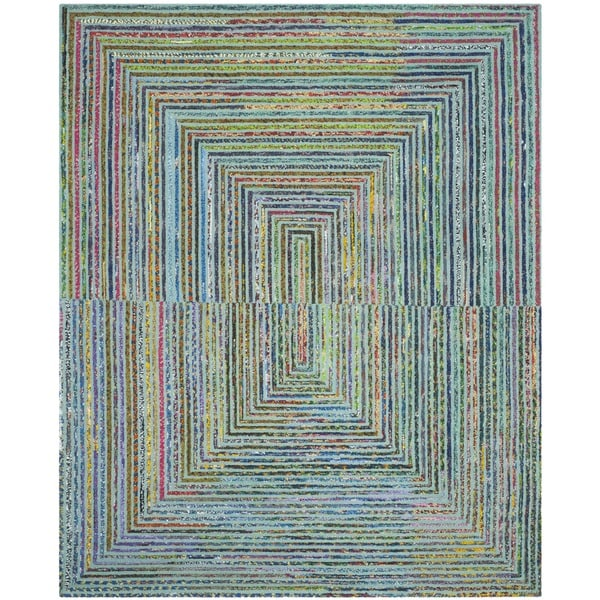 Safavieh handmade nantucket teal cotton rug 9 39 x 12 for Dining room rugs 9x12