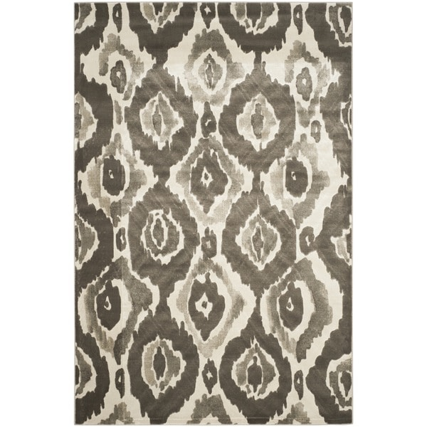 Safavieh Porcello Abstract Ogee Ivory/ Dark Grey Rug (6' x 9') - 6' x 9'
