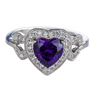Sterling Silver Amethyst Birthstone Heart Cubic Zirconia Ring