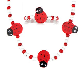 Little Girl's Red Wooden Lady Bug Necklace and Bracelet Set