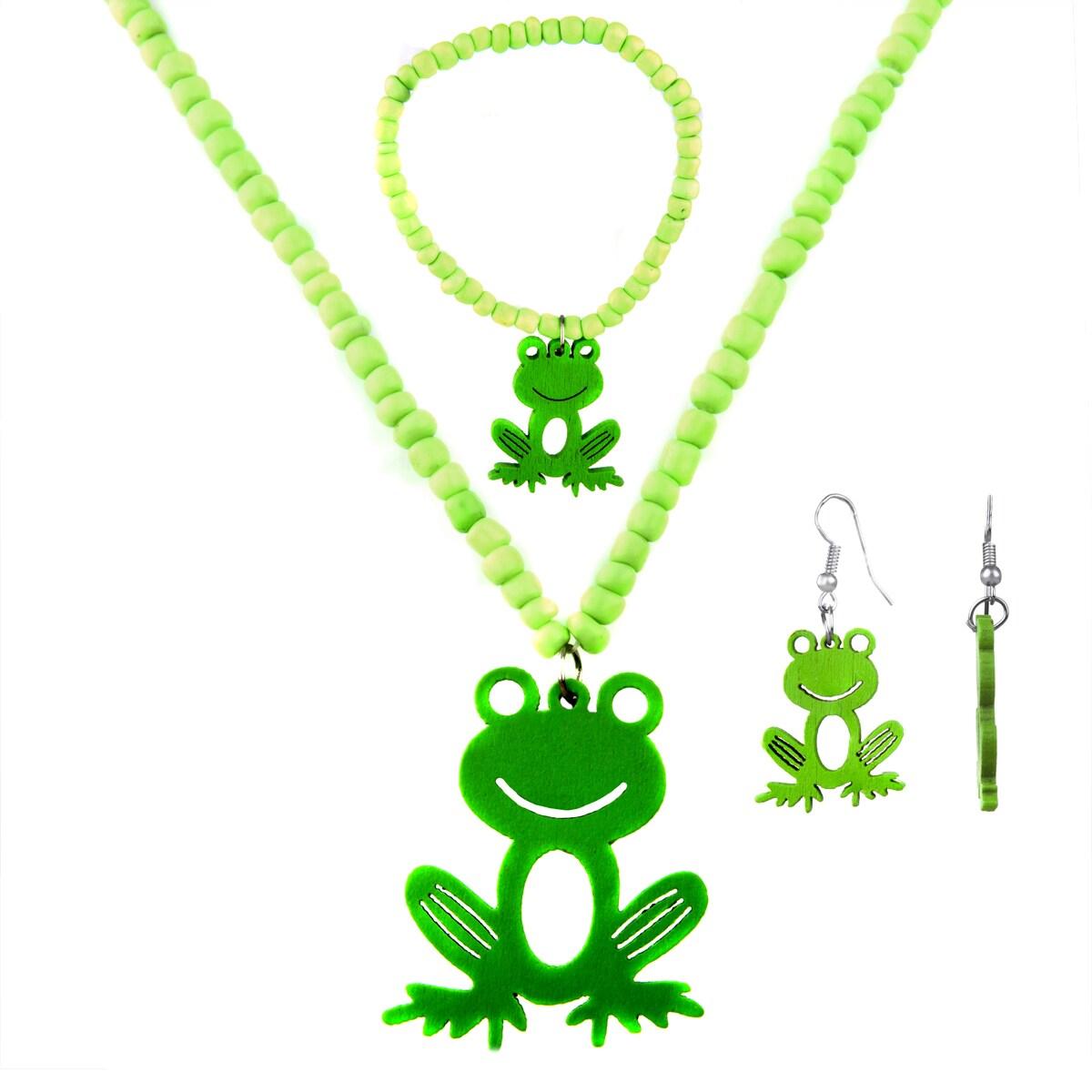 Little Girl Green Frog Jewelry Set (Green Frog), White
