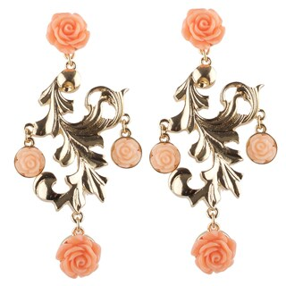 Brass Chandelier Pink Rose Earrings