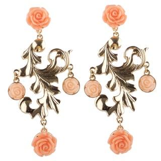 Brass Chandelier Pink Rose Earrings