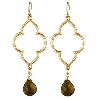 Brass Brown Beaded Boho Dangle Earrings