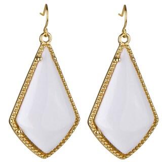 Brass Boho White Dangle Earrings
