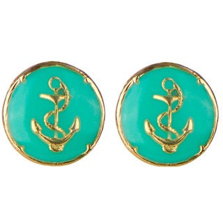 Brass Turquoise Anchor Stud Earrings