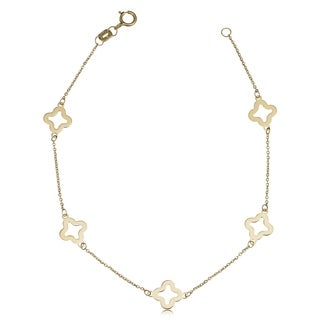 Fremada 14k Yellow Gold Stylish Flower Station Bracelet (7.5 inches)