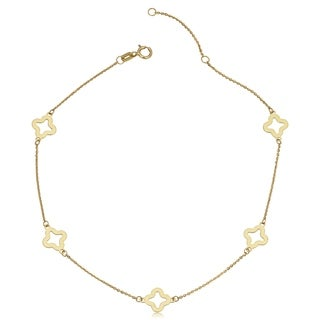 Fremada 14k Yellow Gold Stylish Flower Station Anklet (10 inches)