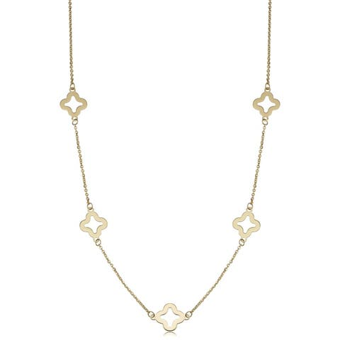 14k Yellow Gold Stylish Flower Station Necklace (18 or 26 inches)