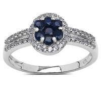 Malaika Sterling Silver 3/4ct Blue Sapphire and White Topaz Ring