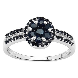 Malaika Sterling Silver 3/4ct Blue Sapphire and Black Spinel Ring