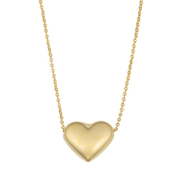 Fremada 14k Yellow Gold Charming High Polish Puff Heart Necklace (18 inches)