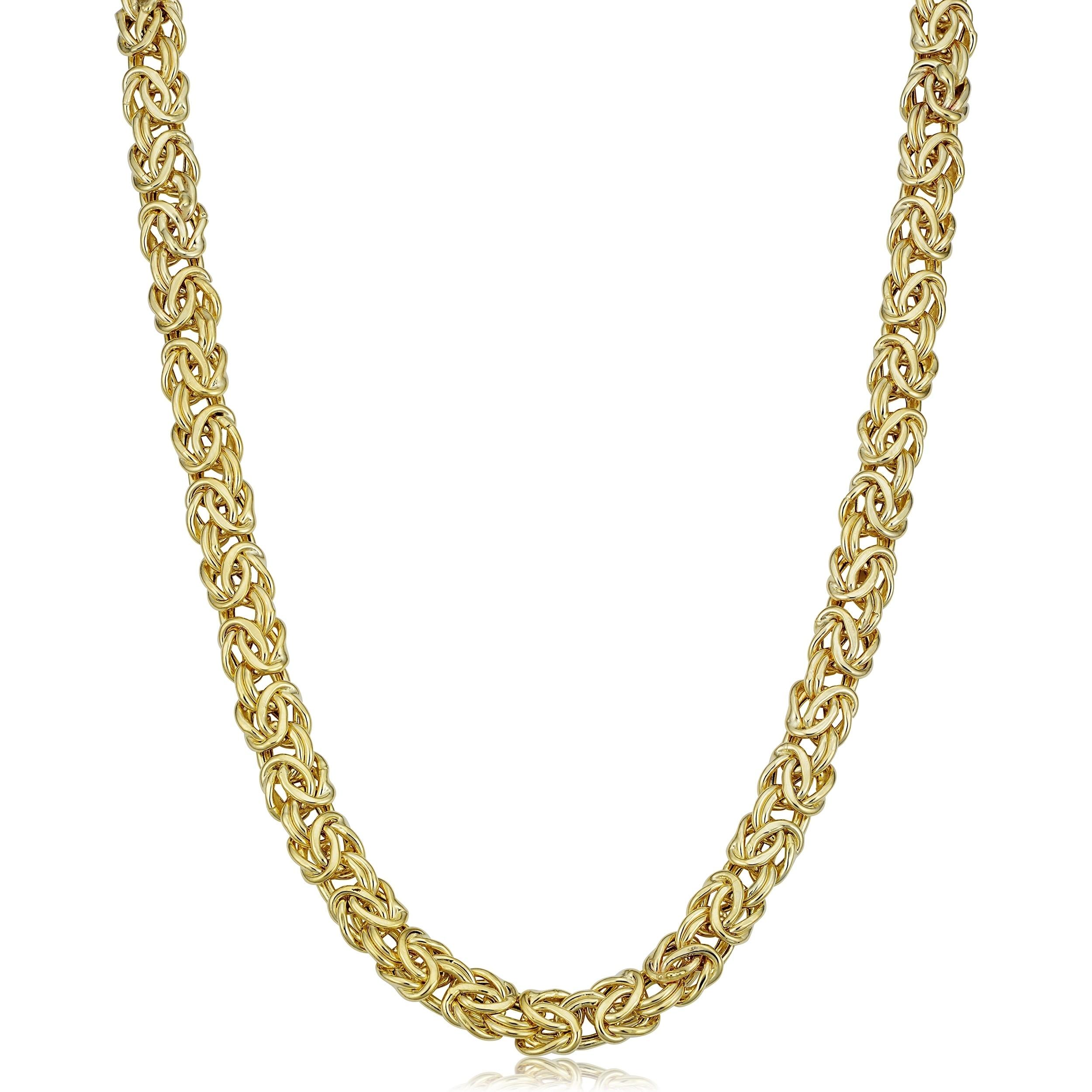 Fremada 14k Yellow Gold 6-mm Byzantine Necklace (18 inche...