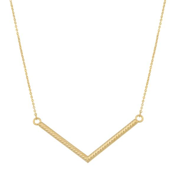 Fremada 14k Yellow Gold Diamond-cut Chevron Necklace (18 inches)